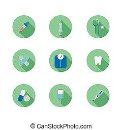 medical equipment icon set vector