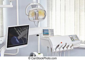 Medical equipment in dental office interior