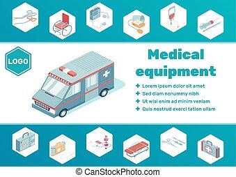 Medical Equipment Isometric Poster