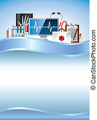 Medical equipment on vertical blue vector background