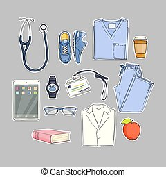 medical equipment set - Cartoon illustration of medical ...