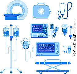 Medical equipment set of MRI, a defibrillator, an oxygen mask and equipment, a medical box with medicines, a blood transfusion dropper, a stretcher isolated on a white background