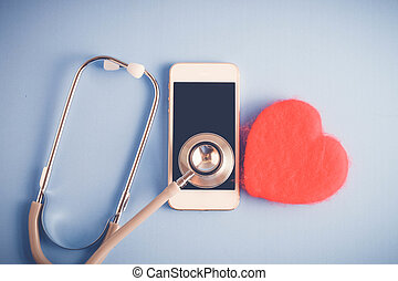 Medical equipment stethoscope and mobile with filter effect retro vintage style