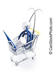 Medical equipment supplies in a shopping cart