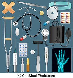 Medical equipment tools and drugs set. Medicine traumatology...