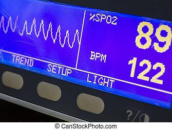 medical equpiment - Eqiupment showing low oxygen levels on a...