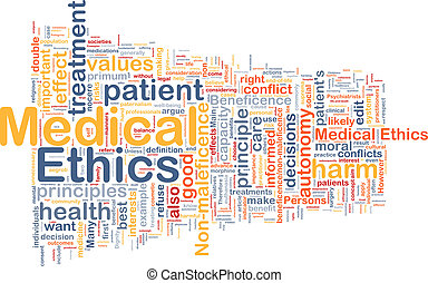 Medical ethics background wordcloud concept illustration -...