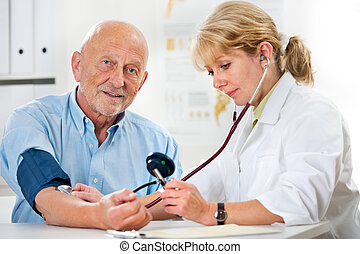 Female doctor measuring blood pressure of senior man