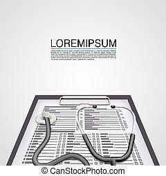 Medical examination art cover tool. Vector illustration