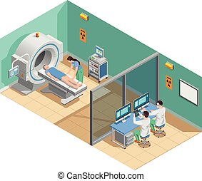 Medical examination with mri scanner, patient and doctors, isometric composition with interior elements vector illustration