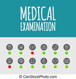 Medical examination, icons. Illustration contains transparency and blending effects, eps 10