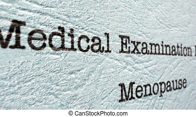 Medical examination menopause