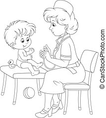 Medical examination - Pediatrician examines a little child...
