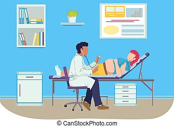 Medical examination pregnant woman, professional pediatrician doctor listens female cartoon vector illustration, isolated on white. Therapeutic analysis late gestation period, girl lying couch.