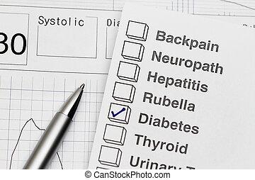Medical Examination Report - close-up of a medical ...