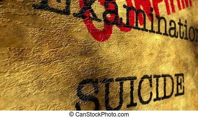 Medical examination suicide confirm