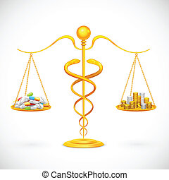 Medical Expenses - illustration of caduceus beam balance...