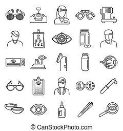 Medical eye examination icons set, outline style