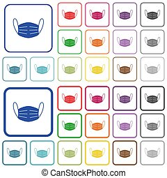 Medical face mask outlined flat color icons