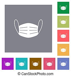 Medical face mask square flat icons