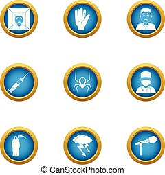Medical faculty icons set, flat style - Medical faculty...