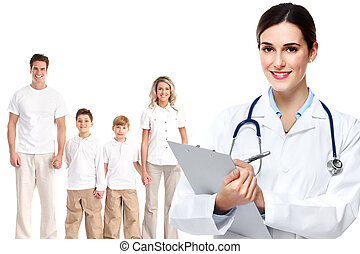 Medical family doctor and patients.