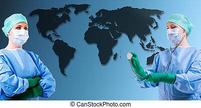 medical female doctor world map - female medical docotr...