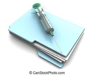 Medical File - A Folder with a Syringe for medical data. 3D...
