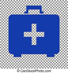 Medical First aid box sign. Blue icon on transparent background.