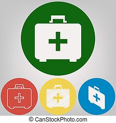 Medical First aid box sign. Vector. 4 white styles of icon at 4 colored circles on light gray background.