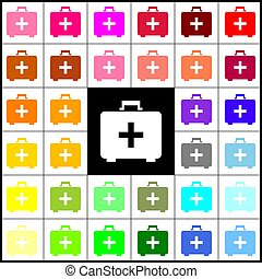 Medical First aid box sign. Vector. Felt-pen 33 colorful icons at white and black backgrounds. Colorfull.
