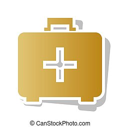 Medical First aid box sign. Vector. Golden gradient icon...