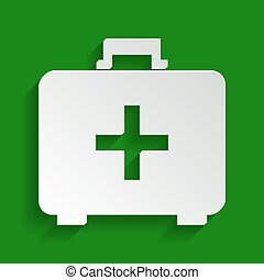 Medical First aid box sign. Vector. Paper whitish icon with soft shadow on green background.