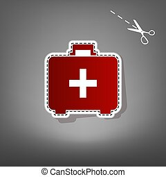 Medical First aid box sign. Vector. Red icon with for applique from paper with shadow on gray background with scissors.