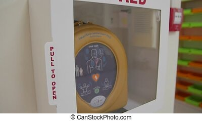 Medical first aid defibrillator slow motion camera movement