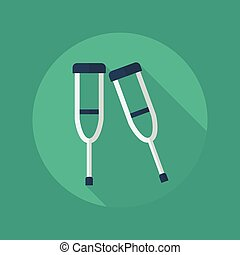 Medical Flat Icon Crutches - Medical Flat Icon With Long...