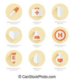 medical Flat Icons Design 2 color