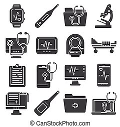 Medical flat icons set on white background