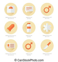 medical Flat Icons Vector Design 2 color