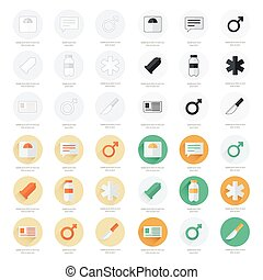 medical Flat Icons Vector Design set