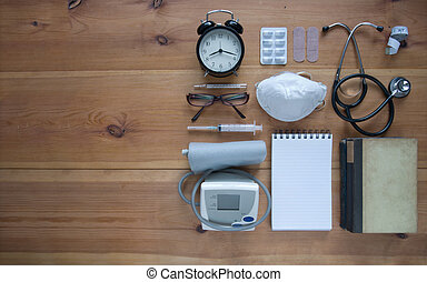 Medical flat lay background
