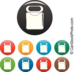 Medical floss icons set color