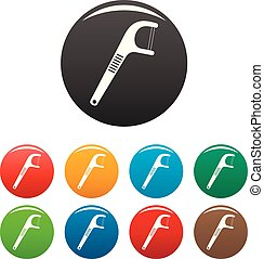 Medical floss pick icons set color