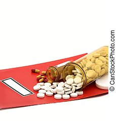 medical folder, pills