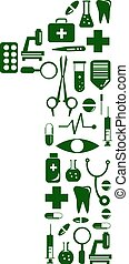 Medical font. alphabet made of medical pills. number 1