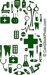 Medical font. alphabet made of medical pills. number 3