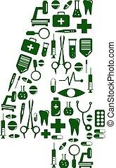 Medical font. alphabet made of medical pills. number 4