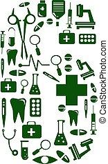 Medical font. alphabet made of medical pills. number 6