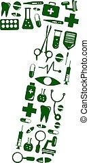 Medical font. alphabet made of medical pills. number 7