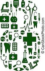Medical font. alphabet made of medical pills. number 8
